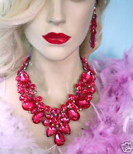 Hot Pink Drag Queen V-Shape Rhinestone Crystal Choker Necklace Earring Pageant