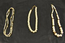 Vintage Lot 3 Pearl Gold Tone Bead Red Green Blue Pink Necklaces q2o102