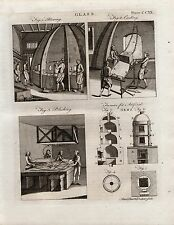 1797 GEORGIAN PRINT ~ GLASS ~ BLOWING POLISHING CASTING~ FURNACE ARTIFICIAL GEMS