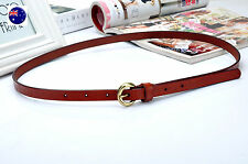 Women Girl Retro Narrow Skinny Genuine Leather Brown Waist Pants band Belt