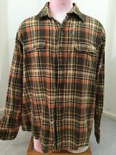 Timberland mens shirt size L large orange brown plaid button front short cotton