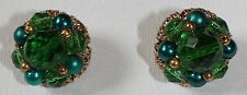 VINTAGE TRIFARI JELLY-BELLY EMERALD GREEN, BLUE, AND GOLD EARRINGS
