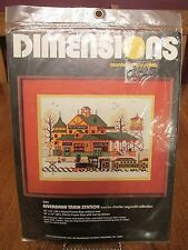 Dimensions Charles Wysocki Riverbank Train Station Counted Cross Stitch Kit