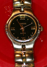RUMOURS METAL WATCH GOLD/SILVER BAND BLACK FACE W/BATTERY