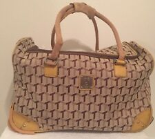 "Tignanello 19"" Carry-On rolling wheeled Duffel City Bag luggage Tan ""T"" Monogram"