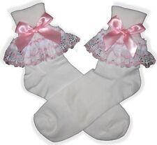 PINK BOWS Lacy Socks for Adult Baby Little Girl Sissy Dress up LEANNE