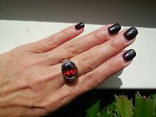 """NEW """"designer inspired"""" Oval RED/Garnet CZ Ring cable & hammered 2 tone Size 7"""