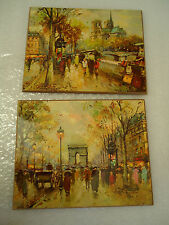 2 Vintage 1960s art picture of France Yellow