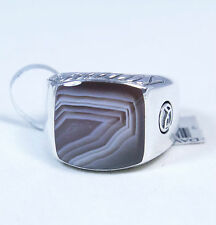 New David Yurman Men's Classic Signet Ring 15mm Botswana Agate Silver Sz 10 $650