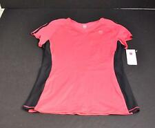 New K-Swiss Pink Black Trim Cap Sleeve V-Neck Tee Top Casual Sports Small GD30
