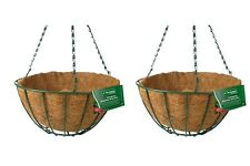 """2 X 12"""" HANGING BASKET 30CM OUTDOOR FLOWER BASKETS WITH COCO LINER"""
