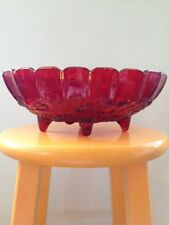 Vintage Heavy RED Carnival Glass Centerpiece Bowl with Chippy Paint