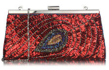 Ladies Sequin Peacock Feather Clutch Bags Women's Wedding Fashion Evening Bags