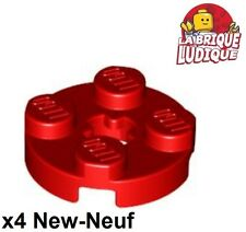 Lego - 4x Plate Round plaque ronde axle hole 2x2 rouge/red 4032 NEUF