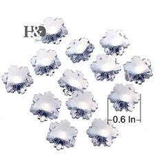 50pcs 14mm Clear Small Snowflake Flower Faceted Crystal Glass Beads With 2 Holes