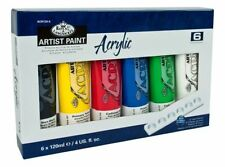 6 pc ACRYLIC PAINT TUBES Large 120ml each ROYAL LANGNICKEL