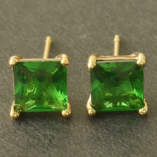 Fashion Womens yellow Gold Filled Emerald Crystal Womens small Ear Stud Earrings