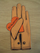 "VTG ca 1920 NOVELTY Valentine Card~GLOVE/""How do I Fit?""~Die Cut~Mechanical~"