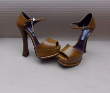 PRADA PLATFORM PEEP TOE FLARED HEEL LADIES PUMPS BN GENUINE £550+ SHOES 37 4uk