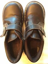 DR DOC MARTENS WOMENS Sz 9 Dark Brown Leather SlipOn Ankle Buckle Oxford Shoes