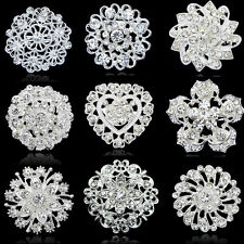 Wholesale 9style Lot US Hot Silver Flower Bounquet Crystal Rhinestone Brooch Pin