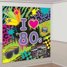 1980 1980's Totally 80's Disco Birthday Party Scene Setter Banner Decoration