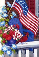 Patriotic Perch Flowers Cardinal Red White & Blue Stars & Stripes Sm Garden Flag