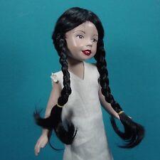 Perruque perruque 15/16cm noir poupée porcelaine ancienne et moderne. Doll wig