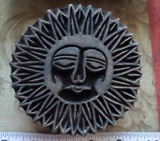 Vintage Sun Hand Carved Wooden Printing Textile Material Fabric Block Stamp