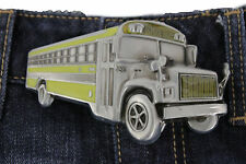 New Men Women Belt Buckle Silver Metal Casual Fashion 3D Yellow School Bus # 86