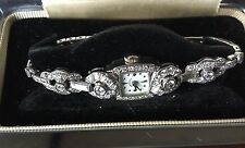 Designer vintage 3.32 carat 14k white gold Hamilton watch bracelet  6.25 inches