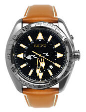 Seiko SUN055 X Prospex Black Gold GMT Date Dial Brown Leather Band Watch New
