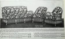 Vintage 1934 Wicker Furniture hand woven fiber sets rockers advertising