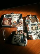 3 pc Tapestry Purse Set, Glasses, coins etc CAT DESIGN new in pkg FREE SHIPPING