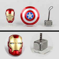 3pcs The Avengers Thor hammer Captain America shield Iron Man helmet Figure