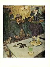 """1956 Vintage TOULOUSE """"M. BOILEAU IN A CAFE"""" ABSINTHE COLOR offset Lithograph"""