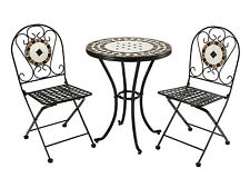 Rimini 3 Piece Mosaic & Steel Handmade Patio Garden Set Brand New