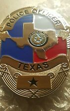 Obsolete FLAT Texas police officer badge with bullion pin USED