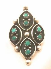 Vintage Sterling Silver Southwest Tribal Turquoise Petit Poin Ring Size 7 6g