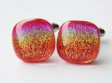 Genuine Dichroic Glass Hand Crafted Cufflinks - Red Rainbow Shimmer