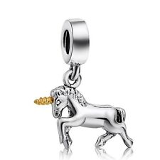 Unicorn silver charm pendant bead Fit European 925 Bracelet/Necklace chain US