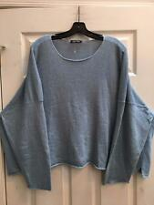 Eskandar Light Blue Slubby Scoopneck   Linen Sweater w/ Rolled Edges