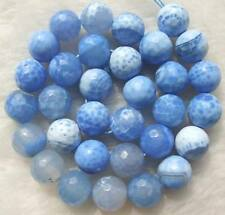 """12mm Blue Crab Agate Faceted Round Beads 14"""""""