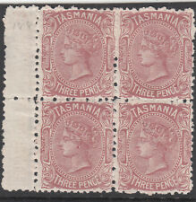 Stamps 1881 Tasmania 3d brown right pane gutter block of 4 Melbourne retail $120