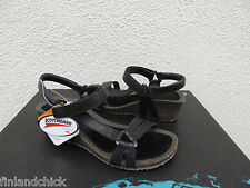 TEVA VENTURA CORK WEDGE 2 BLACK LEATHER WEDGE SANDALS, US 6.5/ EUR 37.5 ~NIB