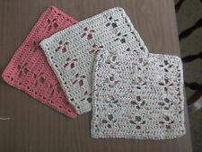 Set of 3 Peach and Beige Dishcloths Crocheted