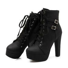 Women's High Heel Platoform  Lace up Shoes Platform Ankle Boots Shoes Plus Size