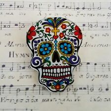 RoCkAbiLLy GoTh MEXICAN SUGAR SKULL TATTOO PRINTED ACRYLIC BROOCH BADGE PIN 40mm