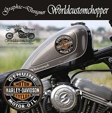 2 ADESIVI STICKERS IN STAMPA DIGITALE GASOLINE HARLEY DAVIDSON STILE VINTAGE