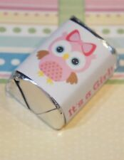 60 Baby Shower It's a Girl Owl Pink Hershey Candy Nugget Wrappers Stickers